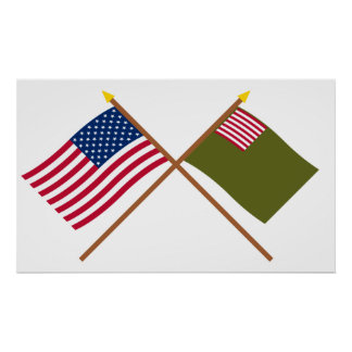 Crossed US and Delaware Militia Flags Posters