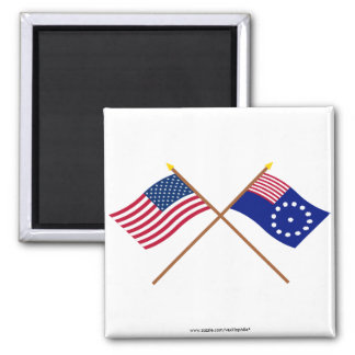 Crossed US and Easton Flags Refrigerator Magnet