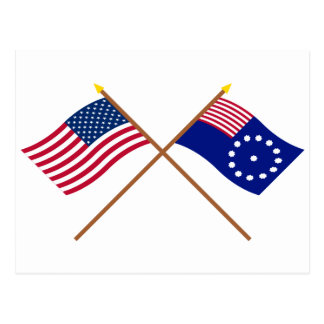 Crossed US and Easton Flags Postcard