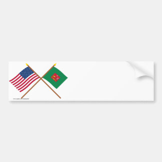 Crossed US and First Pennsylvania Regiment Flags Bumper Stickers