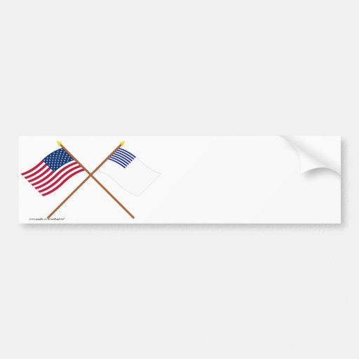 Crossed US and Forster Flags Car Bumper Sticker