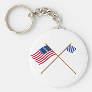 Crossed US and Forster Flags Keychains