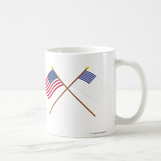 Crossed US and Forster Flags Classic White Coffee Mug