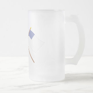 Crossed US and Forster Flags 16 Oz Frosted Glass Beer Mug