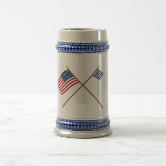 Crossed US and Forster Flags 18 Oz Beer Stein