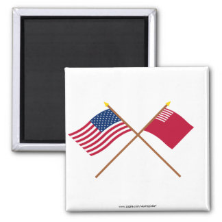 Crossed US and Forster-Knight Flags 2 Inch Square Magnet
