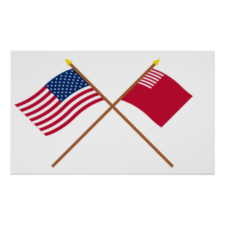 Crossed US and Forster-Knight Flags Poster