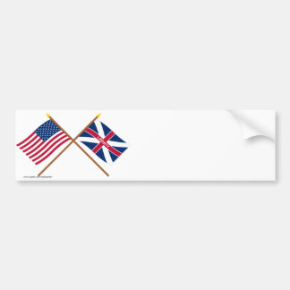 Crossed US and Fort Johnson Flags Bumper Stickers
