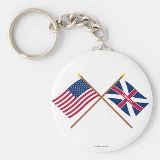 Crossed US and Fort Johnson Flags Keychain