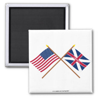 Crossed US and Fort Johnson Flags Magnet