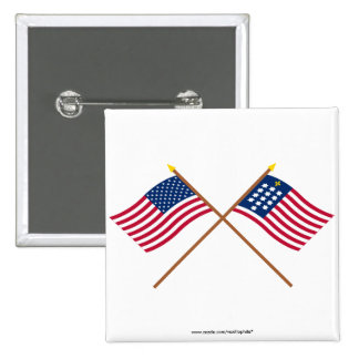 Crossed US and French Alliance Flags Pins