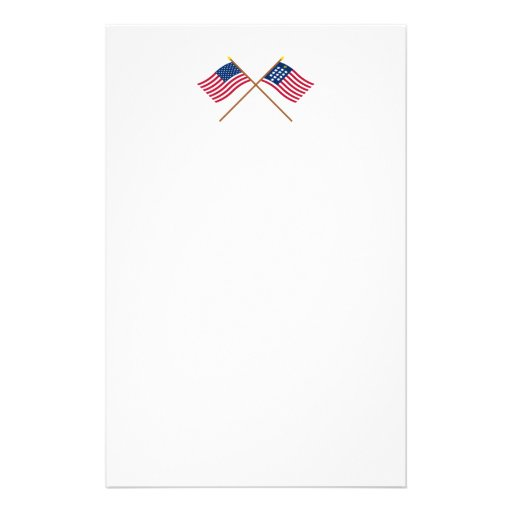 Crossed US and French Alliance Flags Stationery Design