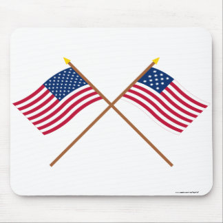 Crossed US and Frigate Alliance Flags Mouse Pad