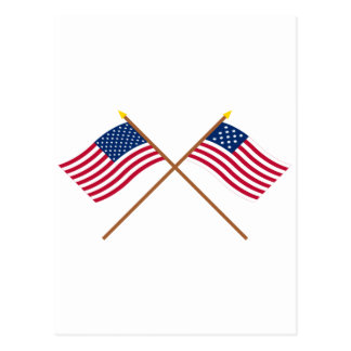 Crossed US and Frigate Alliance Flags Postcard