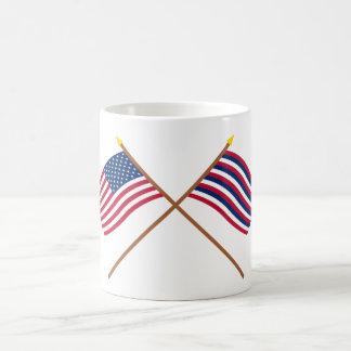 Crossed US and Ft Mifflin Flags Coffee Mug