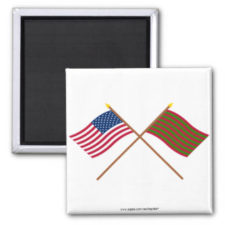 Crossed US and Ft Sackville Flags 2 Inch Square Magnet