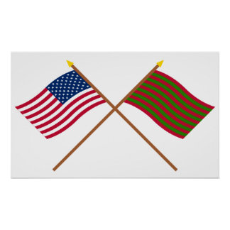 Crossed US and Ft Sackville Flags Poster