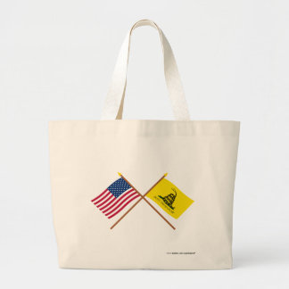 Crossed US and Gadsden Flags Canvas Bags
