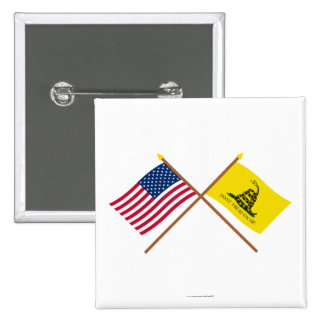 Crossed US and Gadsden Flags Pinback Buttons