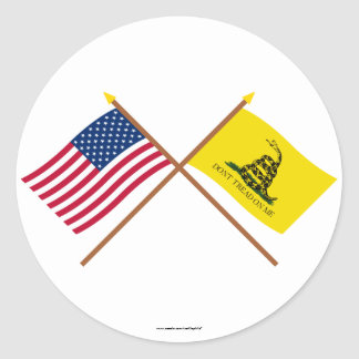 Crossed US and Gadsden Flags Classic Round Sticker