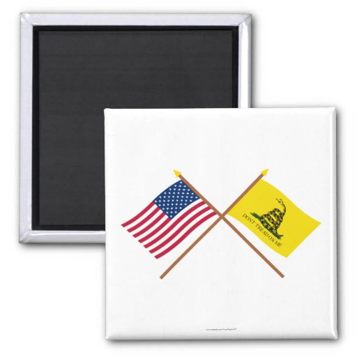 Crossed US and Gadsden Flags Fridge Magnets