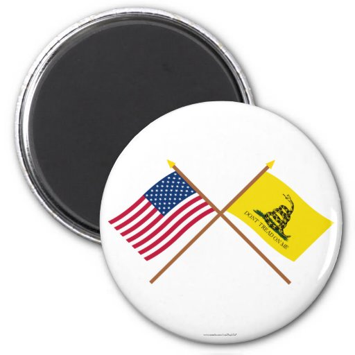 Crossed US and Gadsden Flags Magnet