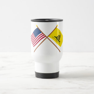 Crossed US and Gadsden Flags Travel Mug