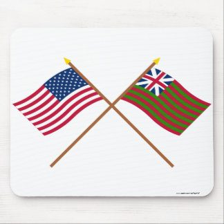 Crossed US and Grand Union Naval Flags Mouse Pad
