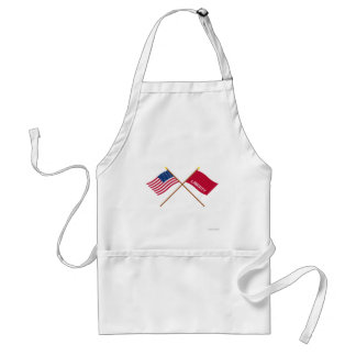 Crossed US and Huntington Flags Adult Apron