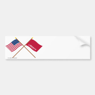 Crossed US and Huntington Flags Car Bumper Sticker