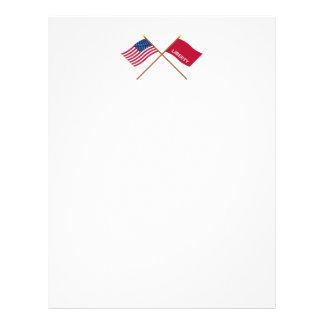 Crossed US and Huntington Flags Letterhead