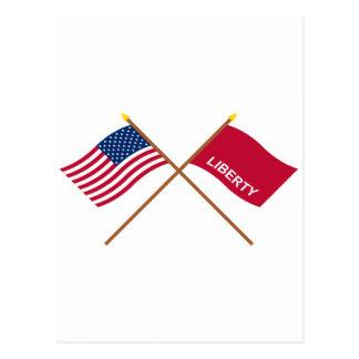 Crossed US and Huntington Flags Postcard