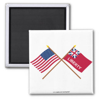Crossed US and Liberty Flags 2 Inch Square Magnet