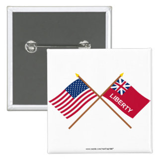 Crossed US and Liberty Flags Pins