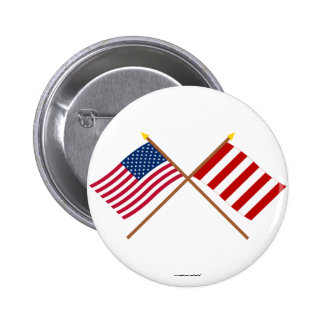 Crossed US and Liberty Tree Flags Pins