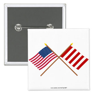 Crossed US and Liberty Tree Flags Pinback Button