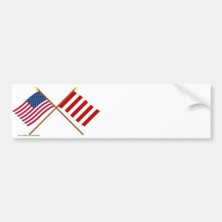 Crossed US and Liberty Tree Flags Car Bumper Sticker