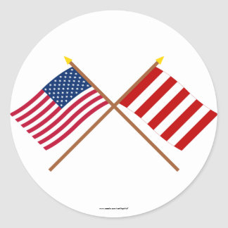Crossed US and Liberty Tree Flags Classic Round Sticker