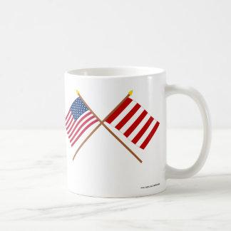 Crossed US and Liberty Tree Flags Mug