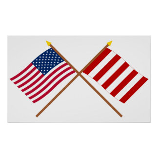 Crossed US and Liberty Tree Flags Poster