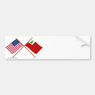 Crossed US and New England Flags Car Bumper Sticker