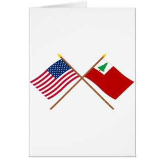 Crossed US and New England Flags Greeting Card