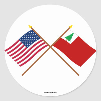 Crossed US and New England Flags Classic Round Sticker