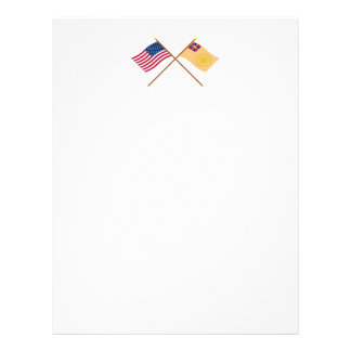 Crossed US and New Hampshire 2nd Regiment Flags Letterhead