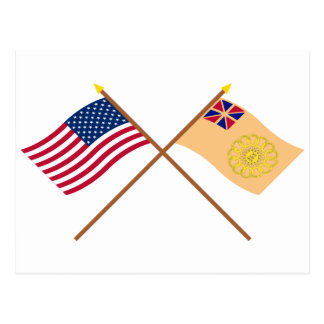 Crossed US and New Hampshire 2nd Regiment Flags Postcard