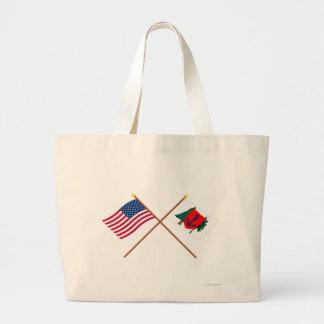 Crossed US and Newburyport Indep Marine Co Flags Bags
