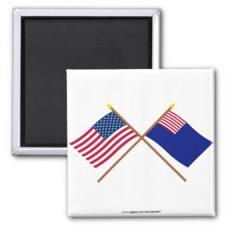 Crossed US and Pennsylvania Navy Flags Fridge Magnet