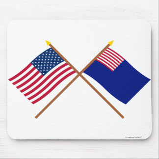 Crossed US and Pennsylvania Navy Flags Mouse Pad