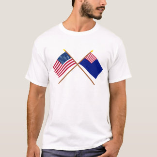 Crossed US and Pennsylvania Navy Flags T-Shirt