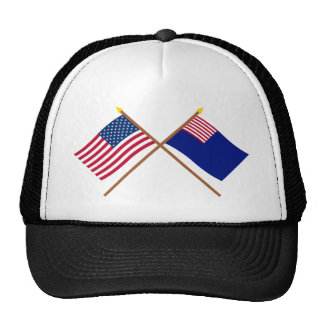 Crossed US and Pennsylvania Navy Flags Trucker Hat